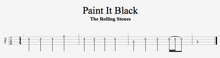 Rolling Stones Paint It Black Tab Guitar