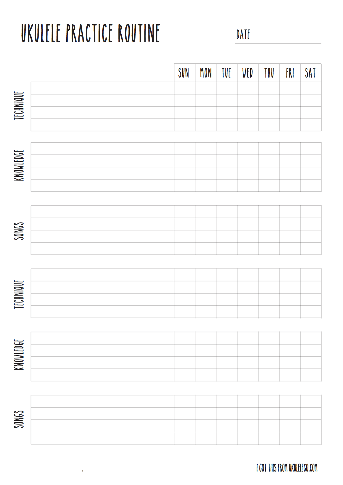 ukulele practice worksheet