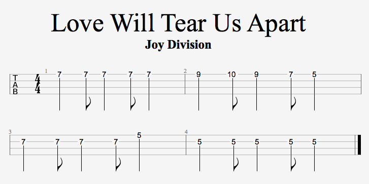 Love Will Tear Us Apart Riff by Joy Division