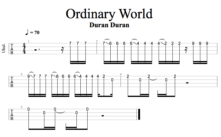 Ordinary World Ukulele Tab