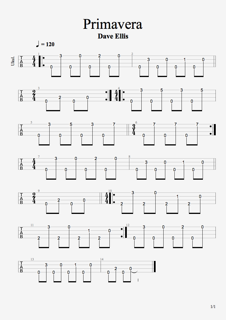 Primavera Original Ukulele Fingerpicked Song Tab