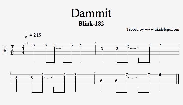 Dammit Blink 182 Ukulele Riff
