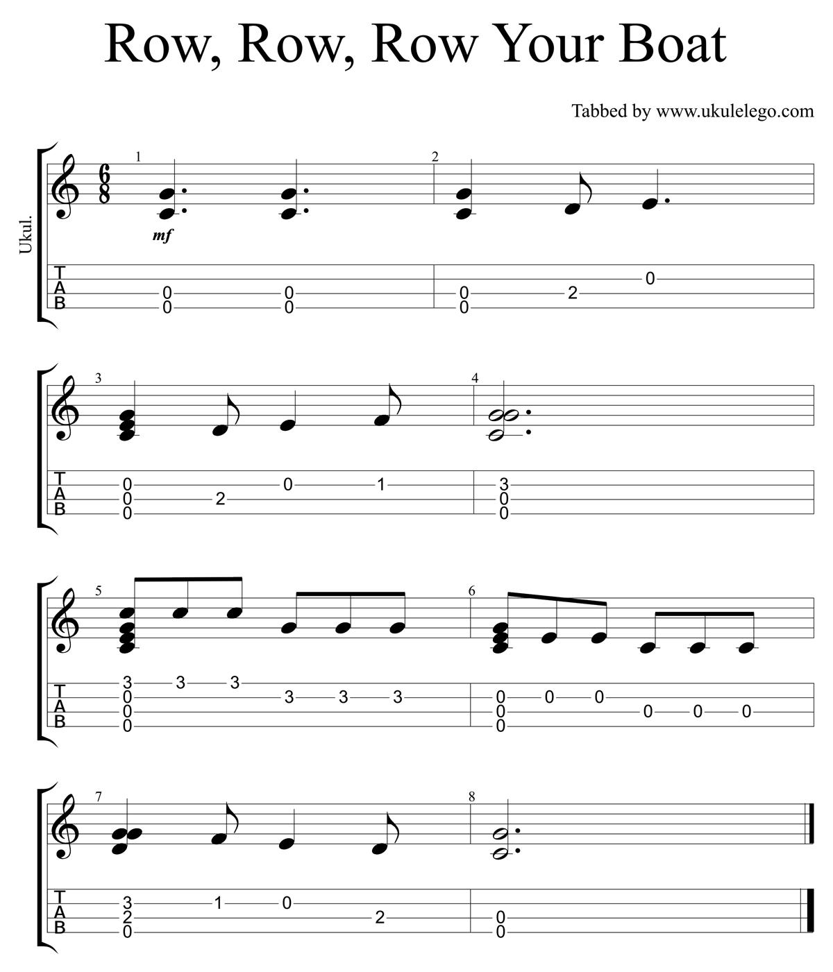 Row row row your boat simple ukulele arrangement ukulele go row row row your boat ukulele tab hexwebz Choice Image