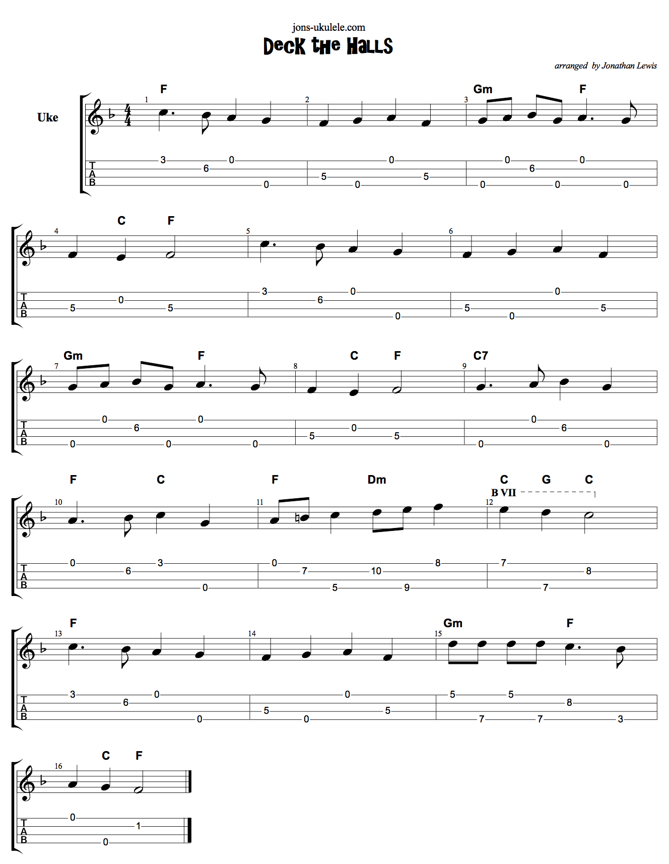 Deck The Halls Ukulele Tab