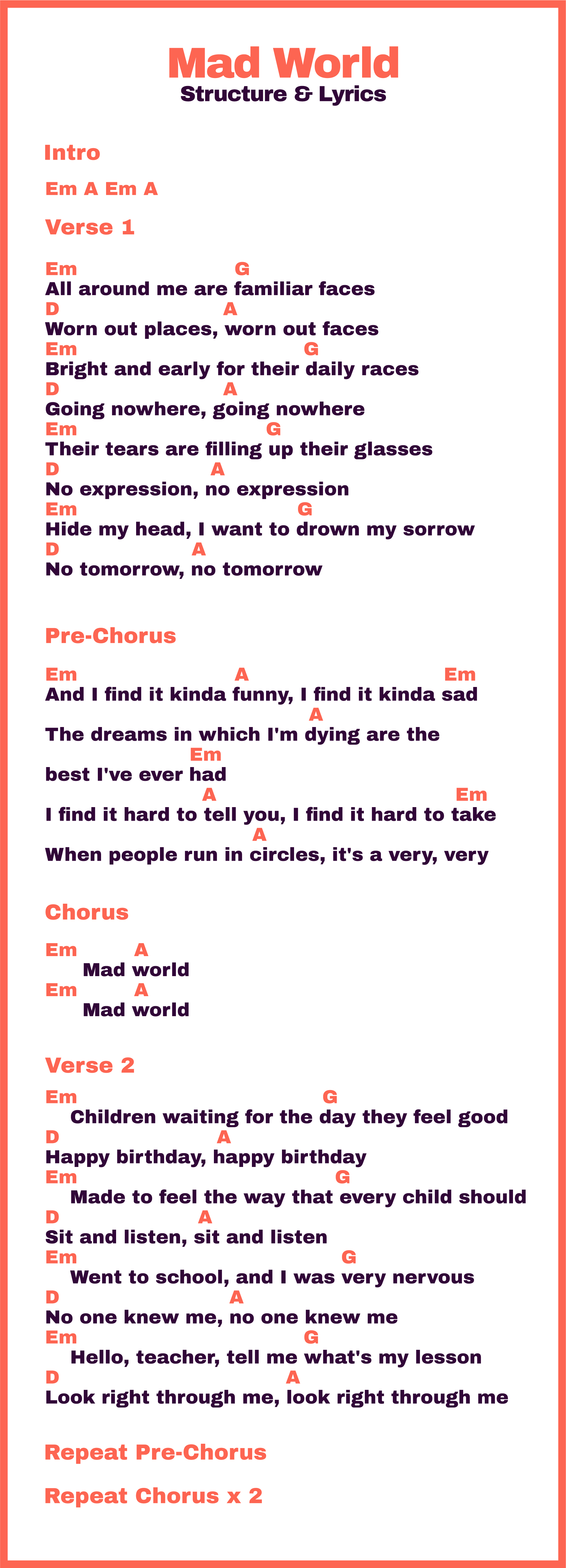 Mad World Song Structure